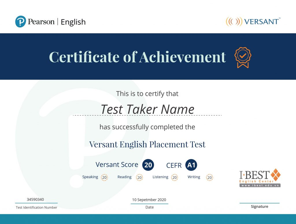 chung chi versant english placement test